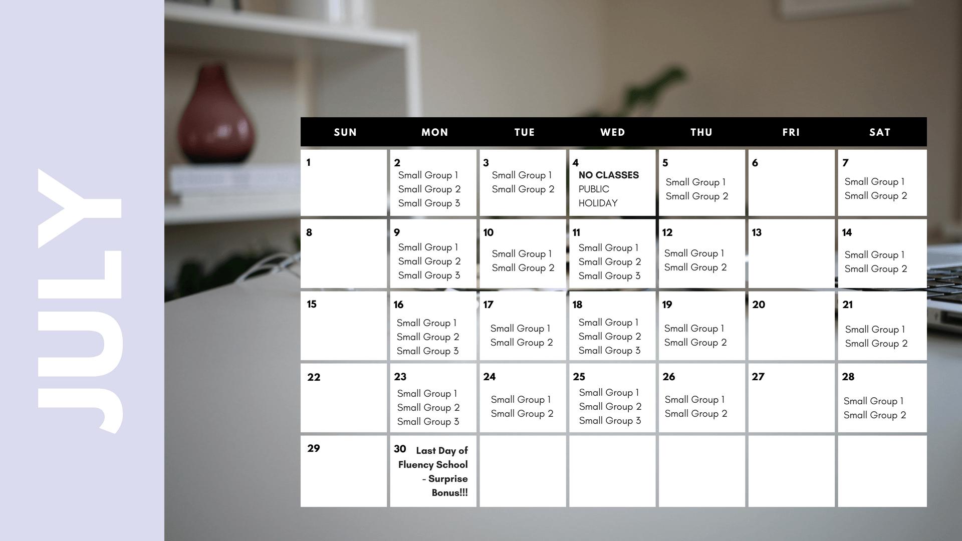 View the Fluency School Calendar
